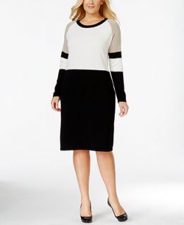 Calvin Klein Plus Size Colorblocked Sweater Dress   Dresses   Women