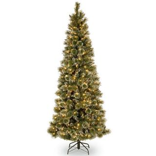 7.5 foot Glittery Bristle Pine Slim Tree with Warm White LED Lights    National Tree Company