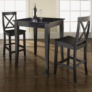 Crosley Furniture KD320001BK 3 Piece Pub Dining Set with Cabriole Leg and X Back Stools in Black Finish