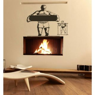 Strong and athletic man Wall Art Sticker Decal Brown   18636490