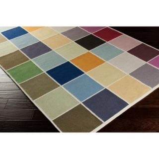 Hand woven Cajan Flat Weave Checkerboard Multi Wool Rug (8' x 11')