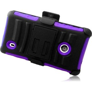 INSTEN Black/ Purple Holster Phone Case Cover with Stand for Nokia