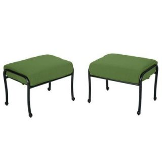 Hampton Bay Fall River Patio Ottoman with Moss Cushion (2 Pack) DY11034 O 2