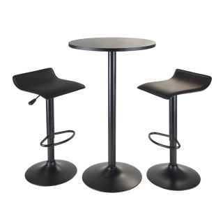 Winsome 20313 Obsidian 3 Piece Round Pub Table with 2 Adjustable Stools