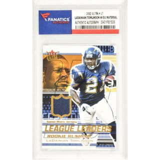 Fanatics Authentic LaDainian Tomlinson San Diego Chargers Autographed 2002 Fleer Ultra League Leaders #LT Card Containing a Piece of Game Worn Material