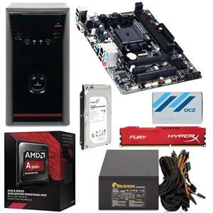AMD A10 7870K 3.9GHz Quad Core Processor/ Gigabyte GA F2A68HM H Micro ATX FM2+ MB/HyperX Fury�8GB (1 x 8GB) DDR3 1866 Memory/OCZ Trion 100 120GB SSD/Seagate 1TB HD/HEC Vigilance Case w/750W PSU PC Kit