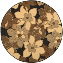 Safavieh Indoor/ Outdoor Black/ Natural Rug (53 Round)   13711516