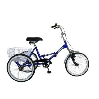Mantis Tri Rad Folding Adult Tricycle, 20 in. Wheels, 16 in. Frame, Unisex in Blue 67520