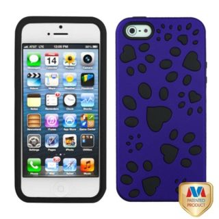 INSTEN Titanium Dark Blue/ Black Dog Paw Phone Case for Apple iPhone 5