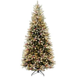 National Tree Company 7.5 ft. Dunhill Fir Slim Artificial Christmas Tree with Clear Lights DUF7 301 75