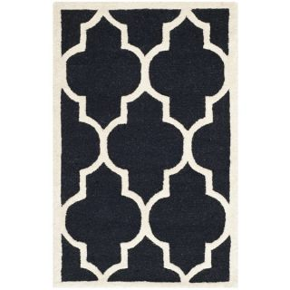 Safavieh Lattice Patterned Handmade Moroccan Cambridge Black Wool Rug