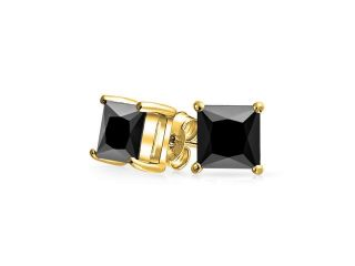 Christmas Gifts Bling Jewelry Black Square CZ Gold Plated Studs 925 Silver 8mm