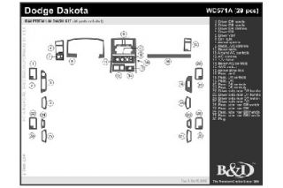 2005, 2006, 2007 Dodge Dakota Wood Dash Kits   B&I WD571A DCF   B&I Dash Kits