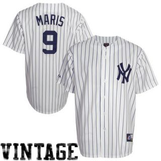 Roger Maris New York Yankees #9 Majestic Cooperstown Collection Throwback Jersey   White Pinstripe