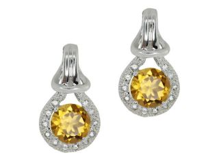 1.80 Ct Round Champagne Quartz White Sapphire Sterling Silver  Earrings