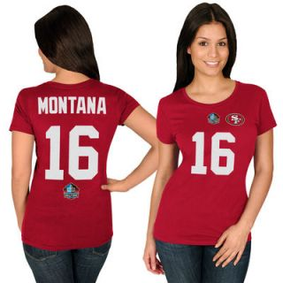 Joe Montana San Francisco 49ers Majestic Womens Hall of Fame Fair Catch Name & Number T Shirt   Scarlet