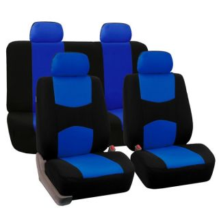 FH Group Blue Full Set Seat Covers with Solid Bench for Sedans and SUV
