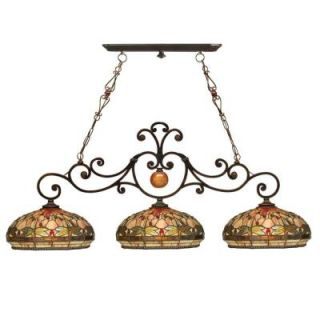 Dale Tiffany Briar Dragonfly 3 Light Antique Golden Sand Ceiling Island Fixture TH10100