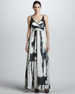 Nicole Miller Printed Wrap Bodice Gown