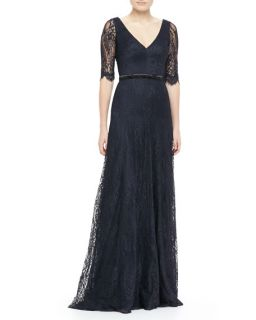 Theia by Don ONeill Lace Elbow Sleeve Gown