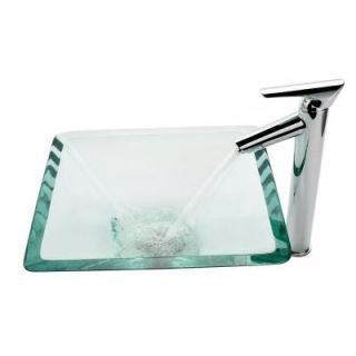 KRAUS Square Glass Vessel Sink in Clear with Decus Faucet in Chrome C GVS 901  1800CH