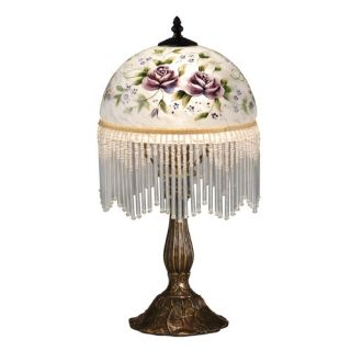 Dale Tiffany Rose Beaded 18.5 H Table Lamp with Bowl Shade