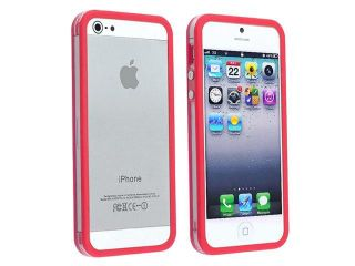 Insten Clear / Red Aluminum Button Bumper Case Cover + Anti Glare Front & Back Screen Protector Compatible With Apple iPhone 5