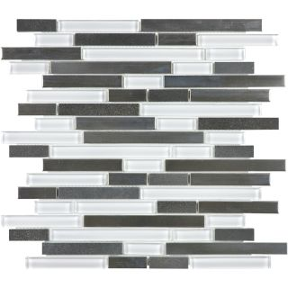 allen + roth Glacier Links Linear Mosaic Glass/Metal/Stone Wall Tile (Common 12 in x 12 in; Actual 11.74 in x 12 in)