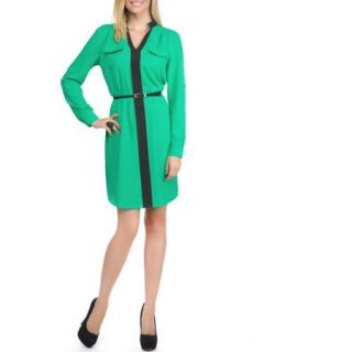Miss Tina Womens Colorblock Shirt Dress