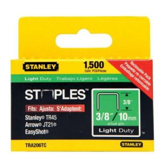 Stanley 3/8 in. Leg x 1/2 in. Crown 22 Gauge Galvanized Steel Light Duty Staples (1,000 Pack) TRA206T