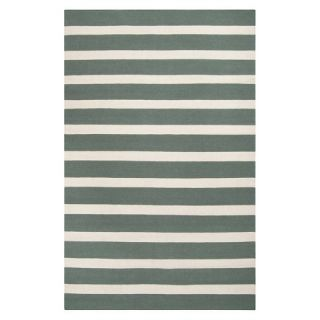 Stripe Flat Weave Area Rug   Green