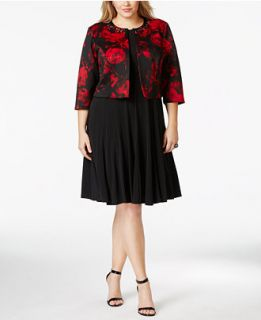 Jessica Howard Plus Size Flare Dress & Rose Print Jacket