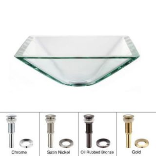 KRAUS Square Glass Vessel Sink in Clear with Pop Up Drain and Mounting Ring in Satin Nickel GVS 901  SN