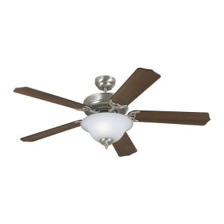 Sea Gull Lighting Quality Max Plus 52 in Brushed Nickel Downrod or Close Mount Indoor Ceiling Fan with Light Kit (5 Blade) ENERGY STAR