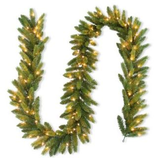 National Tree Company 9 ft. FEEL REEL Jersey Fraser Fir Artificial Garland with 100 Clear Lights PEJF4 310 9A 1