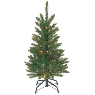 National Tree Company 3 ft. Kingswood Fir Wrapped Pencil Artificial Christmas Tree with Clear Lights KW7 300 30