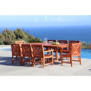 Malibu Eco friendly 9 piece Outdoor Hardwood Dining Set with Oval