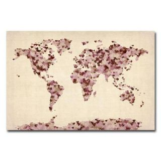 Trademark Fine Art 18 in. x 24 in. Font World Map V Canvas Art MT0032 C1824GG