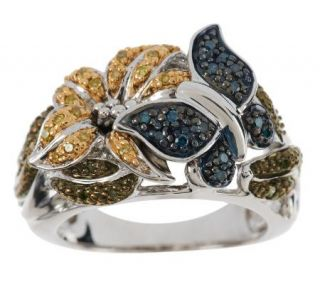 Color Flower & Butterfly Diamond Ring, Sterling, 1/4ct by Affinity —