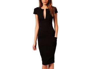 2013 Women Deep neck Slim Knee Length Pocket Party Bodycon Dress